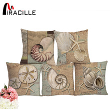 Miracille Ocean series starfish conch printed square cushion decorative sofa throw cushion pillows No Filling for retail 45x45cm
