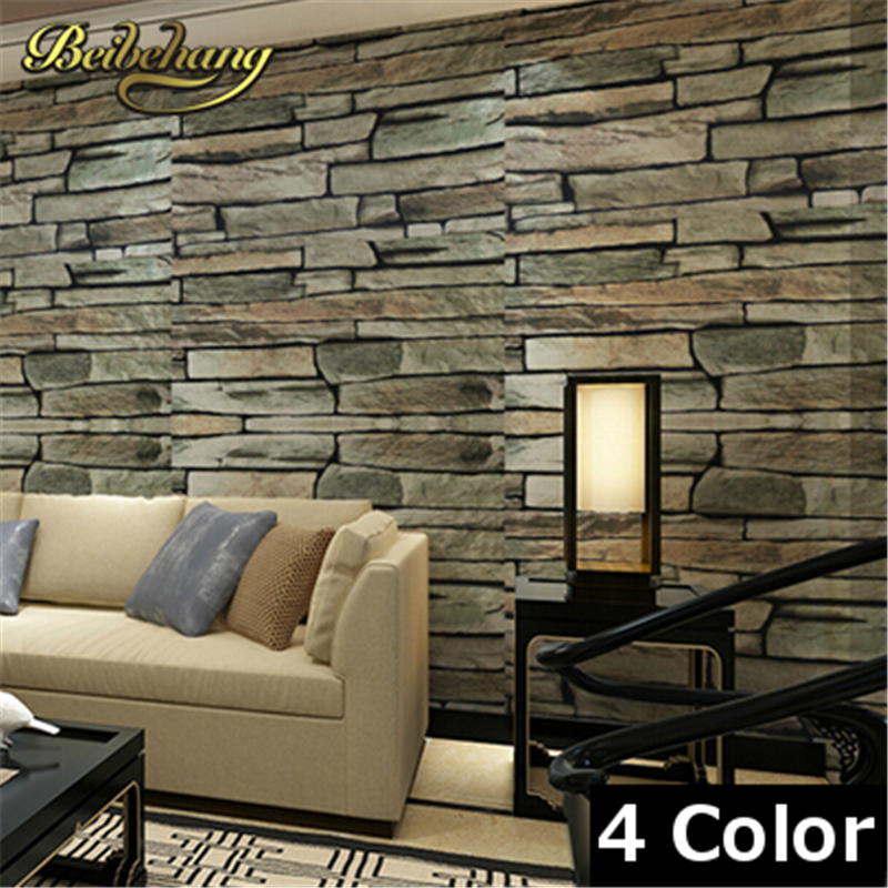 beibehang 4 Color Retro culture brick Stone rock Faux Bricks Prepasted Vinyl Wallpaper personality waterproof bedroom wallpaper<br>