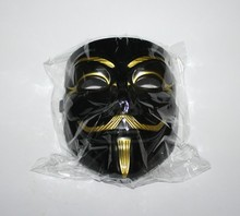 110pcs Black With Gold Eyeliner Halloween Mask V for Vendetta Mask Guy Fawkes Party Face Mask Costume Mask(China)