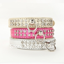 Pink Sliver Gold  Rhinestone Senior PU Collar For Pet Dog BB004 Bling Bling Small Animals Puppy Pitbull Chihuahua Cat Product