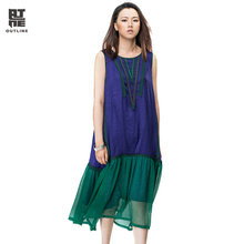 Outline Summer Casual Women Dress Loose Sleeveless O-neck Patchwork Pleated Vestidos Vintage Tank Beach Long Dresses L162Y040