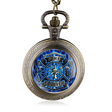 2016 New Fashion Blue Fire Fighter Control Pocket Watch Pendant Fire Dept Necklace Fob Watch Man Women's Gift
