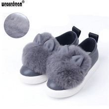 WEONEDREAM Girls Flat Shoes New Children Rabbit Fluffy Fur Fashion Baby Girls Winter Warm Shoes for Children Sneakers Kids Shoes
