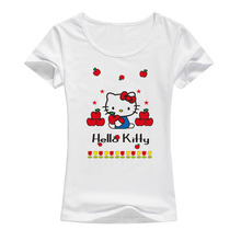 New kawaii Hello Kitty cartoon t shirt women cute tops funny short sleeve female clothing t-shirt for girls A21(China)
