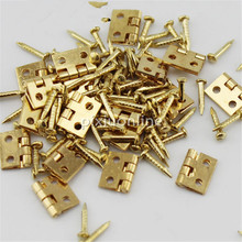 20pcs/lot J041 Brass Hinges with Nail Make Small Wooden Box Free Shipping Russia(China)