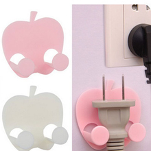 4pcs Lovely Sticky Apple Shape Plug Linked Holder Hooks housekeeper decorative wall hooks Wall Hook organizer Bag Hanger home