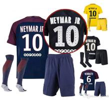 2017 2018 new Thailand quality home and away adult kit, 3RD player black PSG Set with socks Jerseys(China)