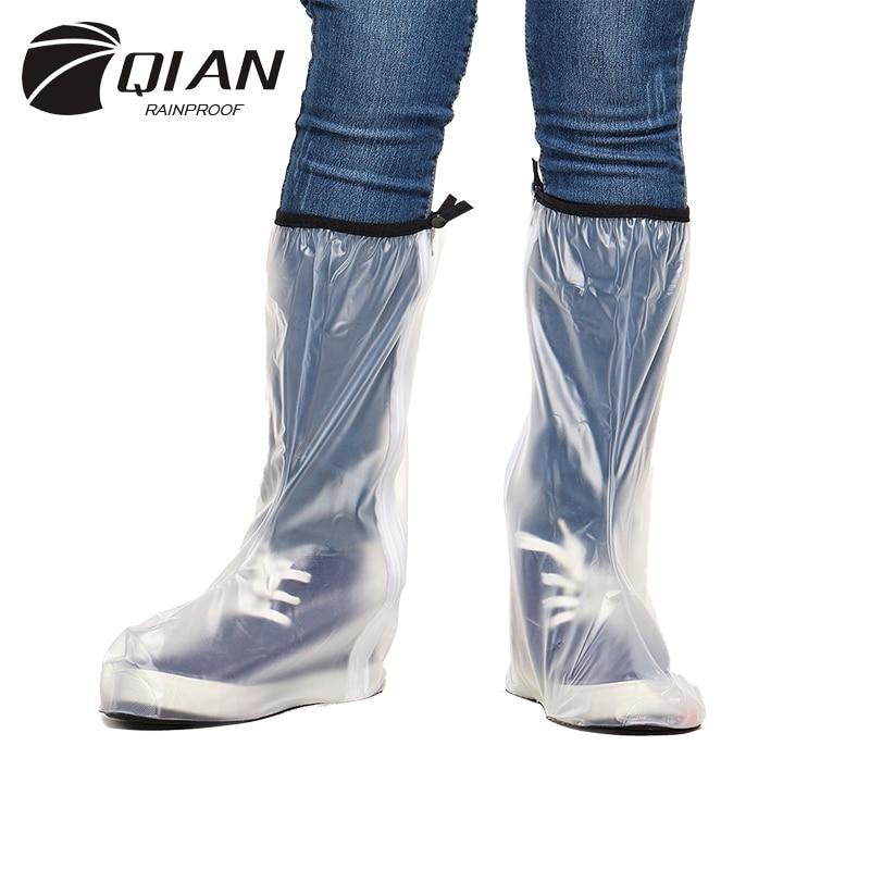 QIAN RAINPROOF 2017 New Fashionable High-top PVC Rain Shoes Covers Men Thicken Non-slip Portable Overshoes Waterproof Boots