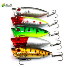 HENGJIA 50pcs Popper fishing lures hard bait fishing wobbler fishing tackle 6.5cm 12g Carp Fishing(China)