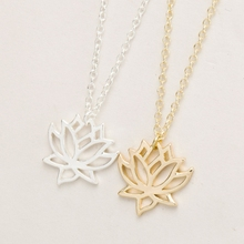 Hfarich New Fashion Lotus necklaces & pendants Dainty Flower Pendant Necklace In Brass EY-N017(China)