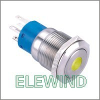 ELEWIND 19mm Yellow Dot illuminated Latching push button(PM192F-11ZD/Y/12V/S)