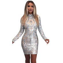 Fashion sexy women sequined bandage bodycon dress 2017 autumn high quality Silver slim hip party dress nightclub wear mini dress(China)