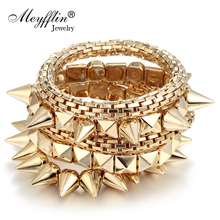 Pulseras Mujer 2017 Fashion Punk Charm Bracelets & Bangles for Women Men Jewelry Spike Rivet Elastic Bracelet Femme Accessories(China)