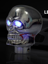 Universal Skull Gear Shift Knob lever Stick Lighted Gears Rally Racing Shifter for Manual Transmission Blue Eyes