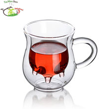 2 Pcs/Lot 6.76fl.oz/200ml Heat-Resisting Glass Double Wall Cow Milk Cup Mug W/ Handle- Udder Style Creamer Pitcher Jug