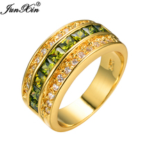 JUNXIN High Quality Olive Green Men Fashion Wedding Jewelry Rings Peridot 10KT Yellow Gold Filled Ring Big Promotion