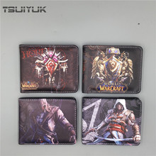 HOT Game Wallet Assassin's Creed / World of Warcraft WOW Wallets For Young Boy Girl Student Leather Money Bag Folded  Purses