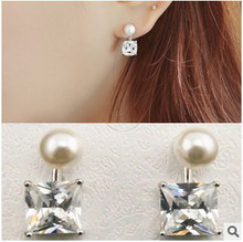 EY417 2015 new fashion Square section with Song Hye Kyo pearl silver plated zircon earrings hypoallergenic Jewelry Wholesale