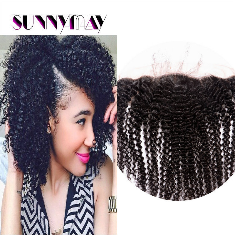 Cheap7A European Virgin Hair Silk Base Lace Frontal Closure Baby Hair Natural Color 13 x 4  Afro Knky Curly Silk Frontal Closure<br><br>Aliexpress