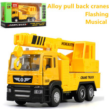 High simulation Crane crane model,1: 43 scale alloy pull back toy cars, flashing & musical,diecasts & toy vehicl,free shpping