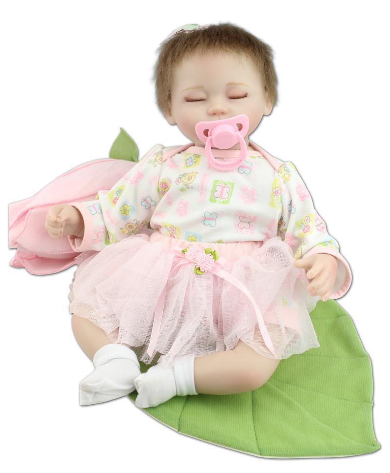 Handmade Lifelike Fashionable Baby Gift 17 Silicone Vinyl Reborn Baby Dolls Very Soft Sleeping Girl Doll EFR576<br><br>Aliexpress