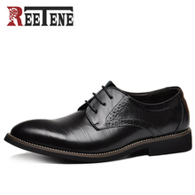 100% Genuine Leather Mens Dress Shoes, High Quality Oxford Shoes For Men, Lace-Up Business Men Shoes, Brand Men Wedding Shoes(China)