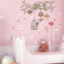 peel and stick wall decals pvc wall stickers baby room decorations zooyoo7102 flower bird cage house sticker 50x70(China)