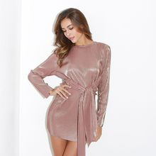 Lguc.H Sexy Shiny Gold Bandage Dress Women Tunic Party Club Dress Mini Europe America Fashion Brand 2018 Spring Long Sleeve S L(China)