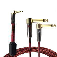 "Right Angle TRS Cable Jack 3.5mm  to Dual 6.35mm 1/4"" Plug TV PC Phone Mixer Speaker Amplifier Stereo Audio Cable 1M 2M 3M 5M 8M"