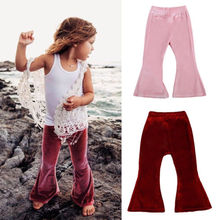 Infant Toddler Baby Girls Bell Bottom Stretch Pleuche Pants Long Trousers Children Enfant Girl Solid Daily Pant Capris Soft 1-5Y(China)