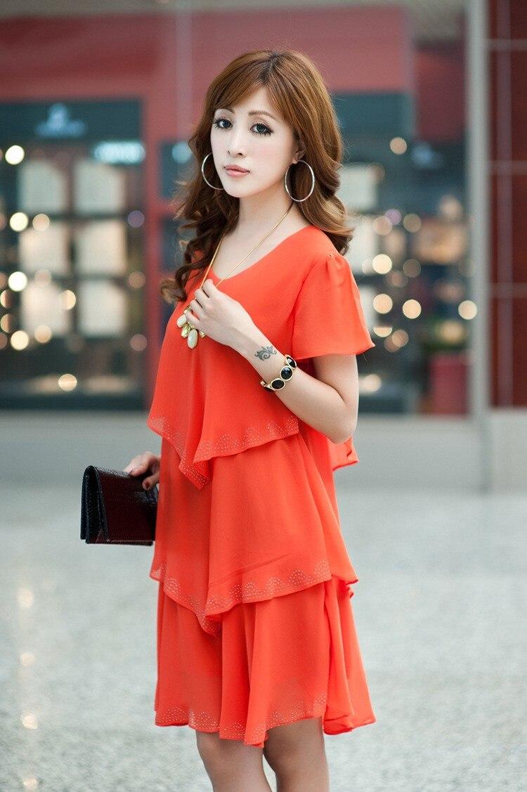 Vestido De Festa Summer Dresses 5XL Plus Size Women Clothing ropa mujer 18 Chiffon Dress Party Short Sleeve Casual Blue Black 20