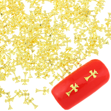 100 Pcs/Lot Gold Silver Cross Design Metal Diy Studs Jewelry For Nails Charms 3D Copper Nail Art Decorations PJ415 PJ416