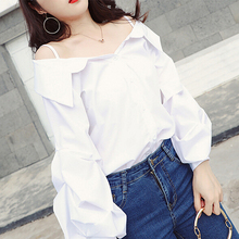 Buy Shoulder Blouses 2018 Autumn Womens Clothing New Arrivals Fashion White Lantern Sleeve Shirts Women Tops Womens Clothing for $11.56 in AliExpress store
