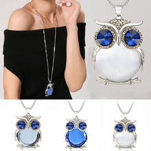 Buy LNRRABC Hot Sale Women Sweater Chain Pendant Necklace Owl Rhinestone Crystal Aolly Set drill Charm Gift for $2.16 in AliExpress store