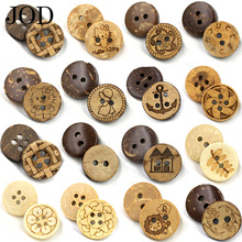 JOD 12.5mm 10Pcs Lot Natural Coconut Buttons Wood Retro Buckle Shirt Knot Baby Diy Handmade Material Laser Animals Pattern(China)