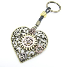 Nice Look Paisley Hollowed Heart with multi Gears Handmade Steampunk Pendant Key Chain(China)