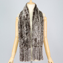 Free shipping natural real rex rabbit fur scarf with fur tassels shawl winter scarf