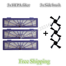 3x side Brush and 3x HEPA Filter for Neato BotVac 70e 750 85 80 Robot Vacuum Cleaner