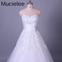 Buy Mucielee Real Sample White Beads Applique Lace Wedding Dress Elegant Women Cheap Wedding Dress Vestido de Casamento for $173.93 in AliExpress store