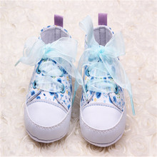 Stylish Infant Toddler Kids Girls Floral print Soft Soled Crib casual Lace Up Shoes Walking Sneaker one pieces(China)