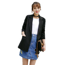 2018 Korean New Loose Thin Casual Suit Female Spring Autumn Women Long-sleeved Long Blazers Jacket Black Outerwear Z449(China)