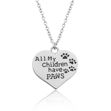 "Animal Footprint Lettering ""All My Children Have Paws"" Heart-Shape Pendant Necklace Pet Lover Dog Paw Print Tag Silver Wholesale"