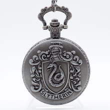 Retro Silver Grey Slytherin Harry Potter Hogwarts College Quartz Pocket Watch Analog Pendant Necklace Mens Womens Watches Gift(China)