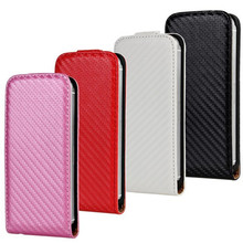 Flip Case For iPhone 5S Simple Elegant Mobile Protective Bag Leather Carbon Fiber Flip Shell For iPhone 5S Phone Cover