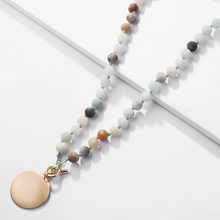 ZWPON 2018 New Natural Amazon Stone Monogram Blank Toggle Necklace for  Women Personalized Choker Handmade Disc Initial Necklace 41f763786d6d