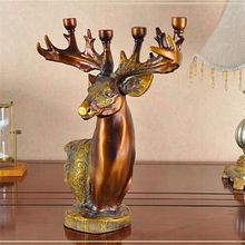 Resin Candle Holder Deer Head Ornaments 4-Candle Base European Candlestick Candelabrum Christmas New Year Home Decoration(China)
