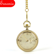 Roman Numberal Mechanical Hand Wind Men Pocket Watch Necklace Key Chain Brand Gift Box Women Fashion Sales Watch Cool