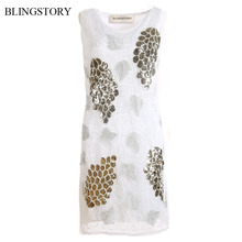 BLINGSTORY Europe And The United States Vintage 1920s Woman Embroidery Flower Sequin Beautiful Summer Dresses Dropship KR3060-4