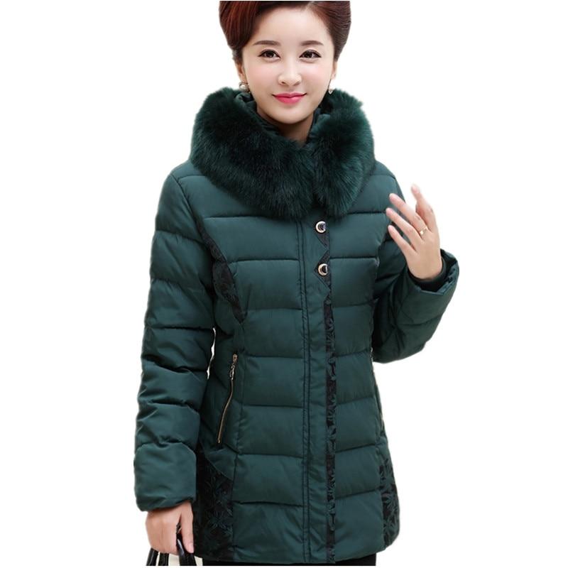 2017 Winter 45-65 Women Hooded Fur Collar Cotton Down Jacket Coat Elderly Ladies Plus Size Warm Wadded Jacket Coat Parkas CheapÎäåæäà è àêñåññóàðû<br><br>