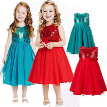 New Child Girls Bridesmaid Summer Dress Kids Sleeveless Princess Wedding Party Flower Bow 3 4 5 6 7 Years Red Blue